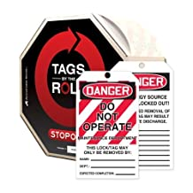 """Accuform Signs TAR474 Tags By-The-Roll Lockout Tags, Legend """"DANGER DO NOT OPERATE MAINTENANCE DEPARTMENT"""", 6.25"""" Length x 3"""" Width x 0.010"""" Thickness, PF-Cardstock, Red/Black on White (Roll of 250) by Accuform"""