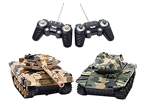 Liberty Imports Deluxe RC Fighting Battle Tanks - Set of 2 Infrared Remote Control Battling Tanks (Remote Control Army Tank)