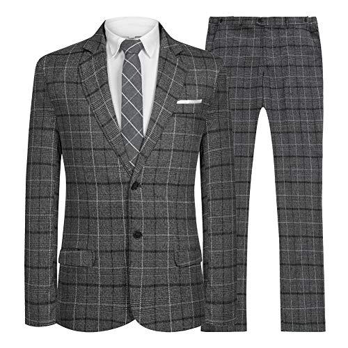 Hanayome Men's Suit 2 Pieces Slim Fit Suit Jacket Pant Coat Business Blazer Men -Grey Plaid -38R ()