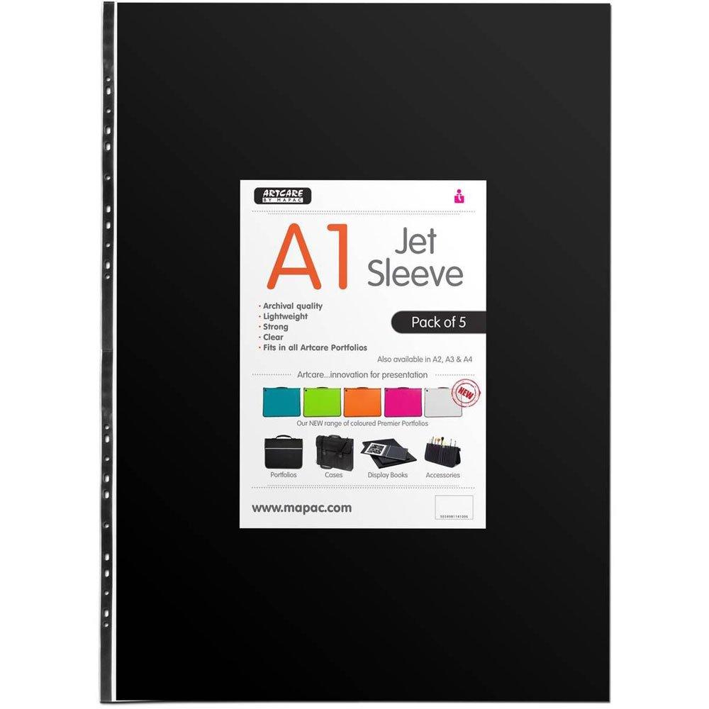 Artcare 15402001Custodia nera A1 in materiale sintetico, confezione da 5, trasparente, dimensioni: 85x 0,1x 60centimetri Mapac