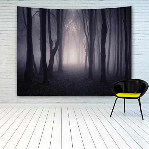 Halloween Decor Tapestry ,Spooky Mystery Foggy Forest Tapestry Wall Hanging, Path Through A Dark Fog Forest At Night Dead Trees Wall Art Tapestry For Living Room Bedroom College Dorm Home Decoration -