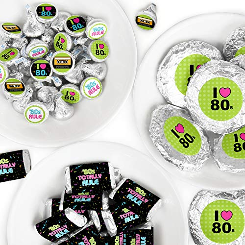 80's Retro - Mini Candy Bar Wrappers, Round Candy Stickers and Circle Stickers - Totally 1980s Party Candy Favor Sticker Kit - 304 Pieces -