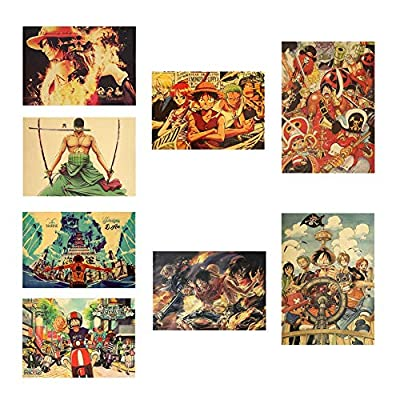 Tianmeijia 8 Styles One Piece Action Figure Poster Crafts Wall Stickers Vintage Paper Anime One Piece Posters Luffy Wanted Boys Gifts(Style10): Toys & Games