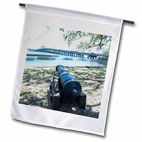 Bridge South Park (3dRose Danita Delimont - Weapons - South Carolina, Beaufort, waterfront park and Woods Memorial Bridge - 12 x 18 inch Garden Flag (fl_259983_1))
