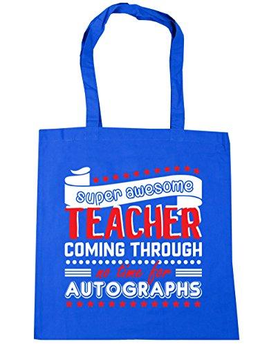 HippoWarehouse Super Awesome Teacher Coming Through No Time For Autographs Tote Shopping Gym Beach Bag 42cm x38cm, 10 litres Cornflower Blue