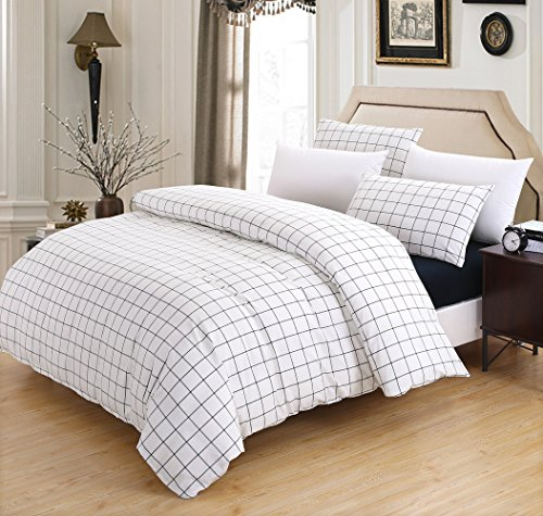 SUSYBAO 100% Stone Washed Cotton 3 Pieces Duvet Cover Set Queen Size White 1 Duvet Cover 2 PillowCases Luxury Soft Breathable Hypoallergenic Fade Stain Wrinkle Resistant Plaid Bedding with Zipper Ties (Vintage Comforter Satin Down)