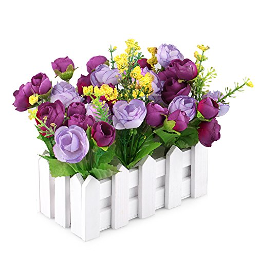 Louis Garden Artificial Flowers Fake Rose in Picket Fence Pot Pack - Mini Potted Plant (Purple)