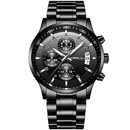 CRRJU Men's Six-pin Multifunctional Chronograph Wristwatches,Stainsteel Steel