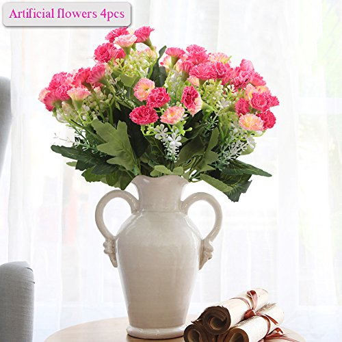 Artificial Flowers, Meiwo 4pcs Artificial Carnations Flowers with 5 Branches Full Bloom Artificial Silk Real Touch Flowers for Home Decor, Wedding, Parties, Offices, Restaurants(Pink)