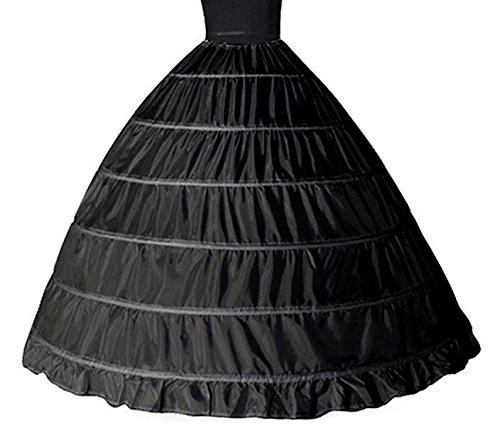 Petticoat, Women 6 Hoops Skirt Crinoline Petticoats Slips Floor Length for Bridal Gown (Black)