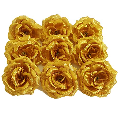 Eternal Blossom Silk Rose Flower Head, 20PCS for Hat Clothes Album Decoration, Wedding Decoration (Gold) (Roses Gold)