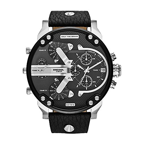 Diesel Men's Mr Daddy 2.0 Quartz Stainless Steel and Leather Chronograph Watch, Color: Black (Model: (Diesel Silver Black Band Watch)