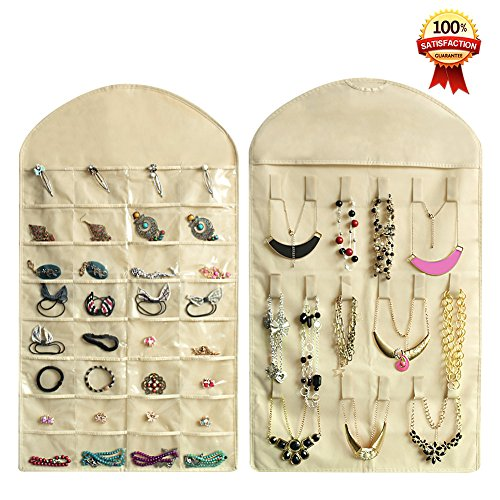 8e2487806 Realdios Hanging Jewelry Organizers 32 Pockets 18 Hook and Loops Non-Woven  Dual Sides Wall Hanging Closet Accessory Jewelry Holder Organizer Folding  Travel ...