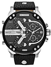 Mens Mr Daddy 2.0 Quartz Stainless Steel and Leather Chronograph Watch, Color: Black (