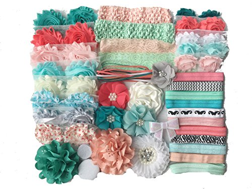 Bowtique Emilee Baby Shower Headband Kit DIY Headband Kit makes over 30 Headbands - Coral and Mint]()
