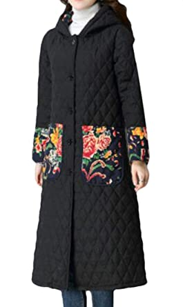 9f80d09ecf2 SELX Women Ethnic Style Thickened Cotton Linen Quilted Hooded Winter Coat  Black US XS