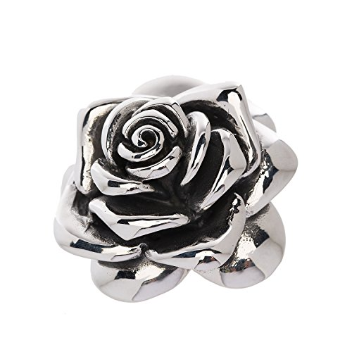 Designer Stainless Steel Rose Pendant - Large - for Women and Girls
