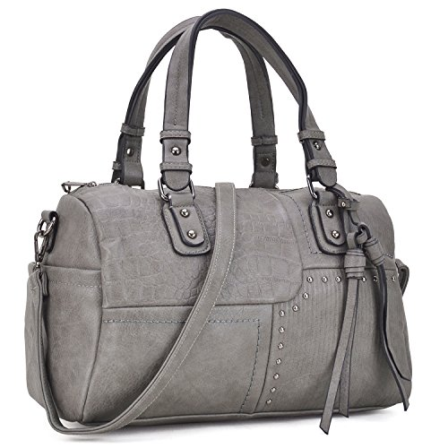 Dasein Women Designer Grey Handbags Soft Vegan Leather Tote Bags Large Shoulder Satchels Purse W/Crossbody Strap (Large Leather Soft Satchel)