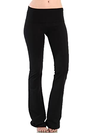 A.S Basic Fold Over Waist Band Stretch Yoga Pants at Amazon ...