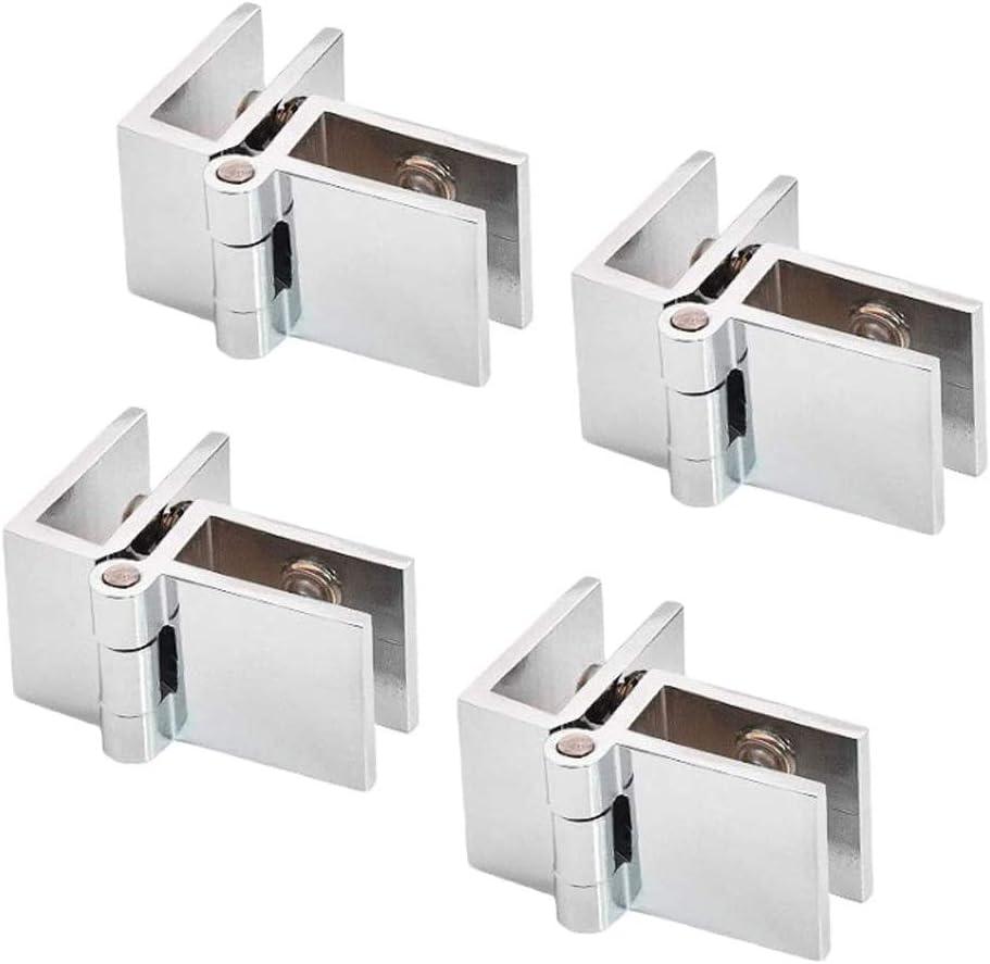 SoundZero 4pcs 90 grados Grosor de Cristal Bisagras, Acero Inoxidable Cristal Bisagras Puertas, Soporte para estante de cristal vidrio, baño, ducha, armario, muebles, cristal Bisagra(5 – 8 mm)