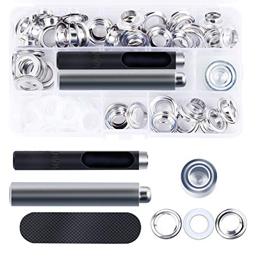 DianMan Grommet Kit 50 Sets 1/2 inch Brass Eyelets Washer Grommets with 3 Pieces Installation Tools for Repair Canvas Tarps Tents and Pool Coverings DIY Clothing Crafts Curtain (Silver) ()