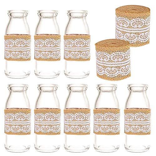 Amajoy 12PCS Small Jars with 2PCS Burlap Lace Rolls Handmade Wedding Favor, Milk Favor Jar with Cork Top, Party Favors Wedding Favors Bud Vase Craft DIY Decorative Jar ()