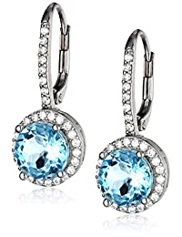 Round Halo Leverback Earrings