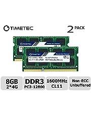 Timetec Hynix IC DDR3L 1600MHz PC3L-12800 Non ECC Unbuffered 1.35V CL11 2Rx8 Dual Rank 204 Pin SODIMM Laptop Notebook Computer Memory Ram Module Upgrade (8GB Kit (2x4GB))