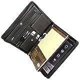 Cowhide Leather Portfolio Zippered Organizer Pad Card Holder Case Note Folder Black for iPad Pro 10.5 inch