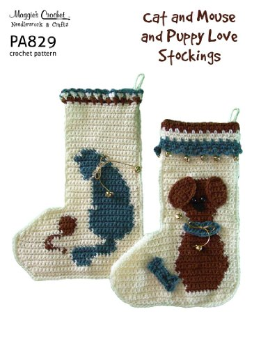 Crochet Pattern Puppy Love and Cat and Mouse Stockings PA829-R