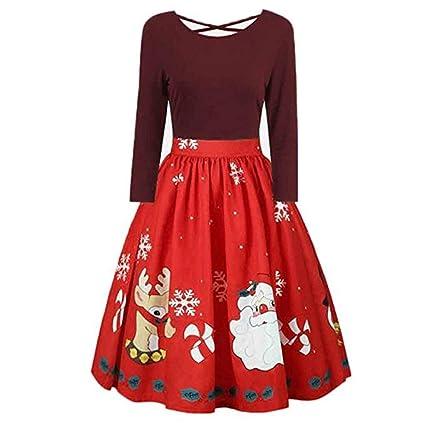 Vestido de Navidad de Manga Larga Vestido de Fiesta Estampado Ailin Home (Color : Azul