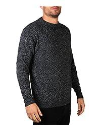 KRISP Mens Soft Knitted Warm Sweater Grandad Pullover Round Crew Neck Top