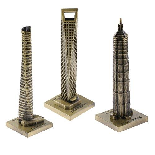 (Homyl 3 Pieces Souvenir Building Metal Shanghai Skylines Buildings Model Desk Decor Gift - 15cm)
