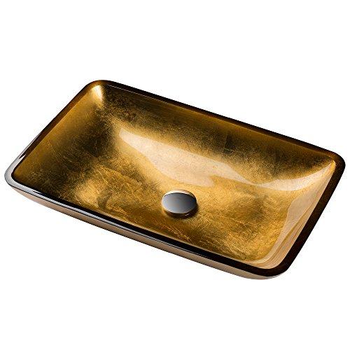 (Kraus GVR-210-RE Golden Pearl Rectangular Glass Vessel Bathroom Sink)