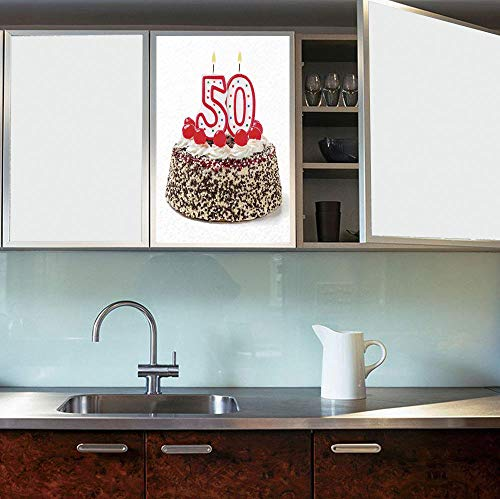 YOLIYANA The Visual Effect of Textured Glass and Stained Glass,50th Birthday Decorations,is Good for Long Year Under The Sunshine,Cream Cake with Cherries Burning Candles Chocolaty Yummy,24''x36'' ()