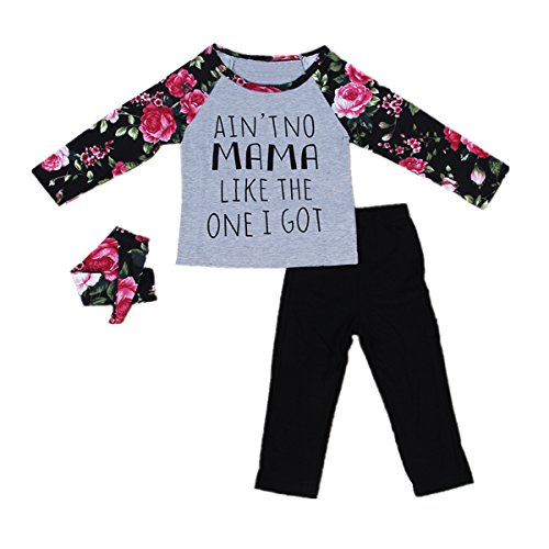 puseky Toddler Girls Floral Long Sleeve T-Shirt + Pants + Headband Outfits  Set 87589b94a