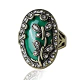 ATHING DragonfLove Rings Plating Ancient Bronze Tibetan Silver Alloy Bohemian Sapphire Jewelry Retro Ring 10.0