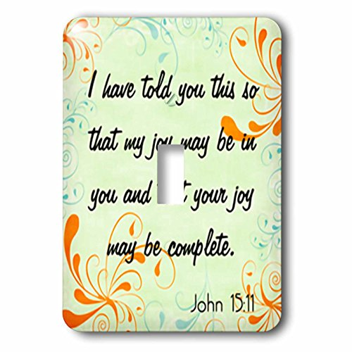 3dRose lsp_150071_1 Bible Verse John 15-11 Gradient Swirl Pastel Bible Christian Inspirational Saying Light Switch Cover -