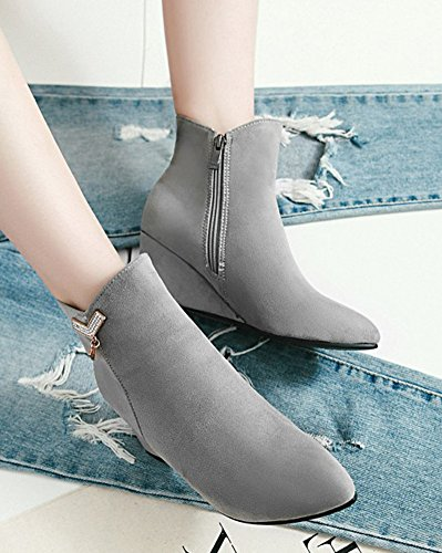 Zip Wedge Gray Mid With Women's Rhinestone Up Boots Toe Shoes Heel Ankle Booties Aisun Dressy Zipper Pointed Inside xB8vTxXq