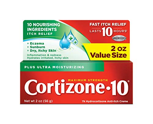 Cortizone-10 Plus Maximum Strength Hydrocortisone Anti-Itch Creme Plus Moisturizers, 2-Ounce Tubes (Pack of 3)