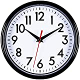 Bernhard Products - Black Wall Clock 8'' Silent Non-Ticking Quality Quartz Battery Operated Round Clock for Office/Kitchen/Classroom/Nursery Room Easy to Read (Black)