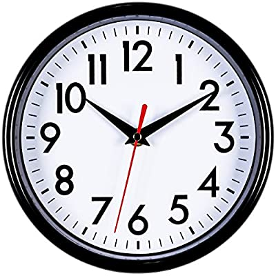 """Bernhard Products - Black Wall Clock 8"""" Silent Non-Ticking Quality Quartz Battery Operated Round Clock for Office/Kitchen/Classroom/Nursery Room Easy to Read (Black) - Decorate and enhance your bedroom, classroom, kitchen, bathroom or office with this classic wall clock Silent non-ticking mechanism with sweeping movement, allows you to rest in silence. Precise Quartz movements guarantee accurate time Jet black frame. Black numbers and hands on a white background create easy viewing from any angle. Red second hand for extra clarity - wall-clocks, living-room-decor, living-room - 518q1olbuoL. SS400  -"""