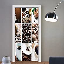 Gzhihine custom made 3d door stickers Kitchen Collage of Coffee and Products Beans Deserts Ice Cream Cinnamon Hot Drink Dark and Light Brown For Room Decor 30x79