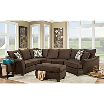 chelsea home furniture cupertino 3piece sectional flannel espresso