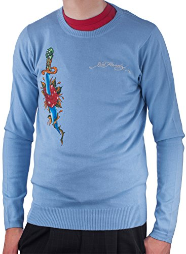 Ed Hardy Mens Snake Eagle Crewneck Sweater - Cadet - Large