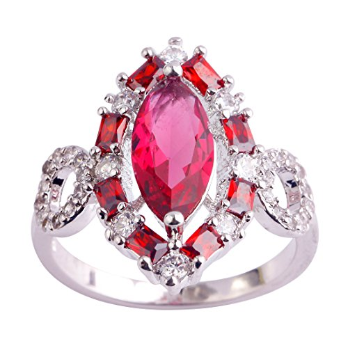 Veunora 925 Sterling Silver Created Marquise Cut Ruby Spinel Filled Gorgeous Cluster Promise Ring for Women Size 7