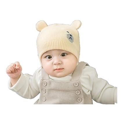 146875b652c9d くま柄 ニット帽子 赤ちゃん 幼児 可愛い耳付き 防寒 防風 男の子 女の子 兼用 (クリーム