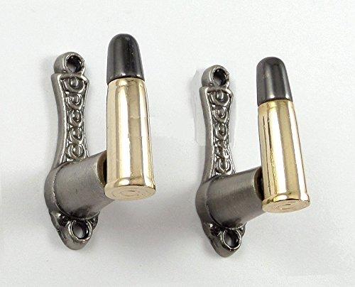 Set Hanger Brass Wall ((Set of 2) Bullet Design Sword Pistol Knife Gun Wall Hanger Hook Display Bracket Mount Rack)