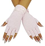 Bienvenu Womens Lightweight Sunscreen Anti Skid Cotton Driving Gloves UV Sun Fingerless Gloves,LightPink_style 2,One Size
