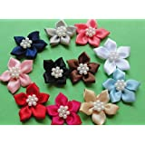 50pcs Satin the Ribbon Flowers with the Appliques Craft DIY Wedding Pearls (Mix)